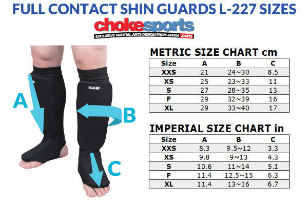 Isami Shin Guards Karate Sizes
