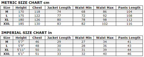 Isami Sauna Sweat Suit Sizes