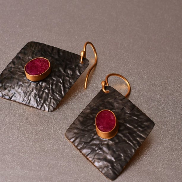 Iona Earrings With Dyed Ruby