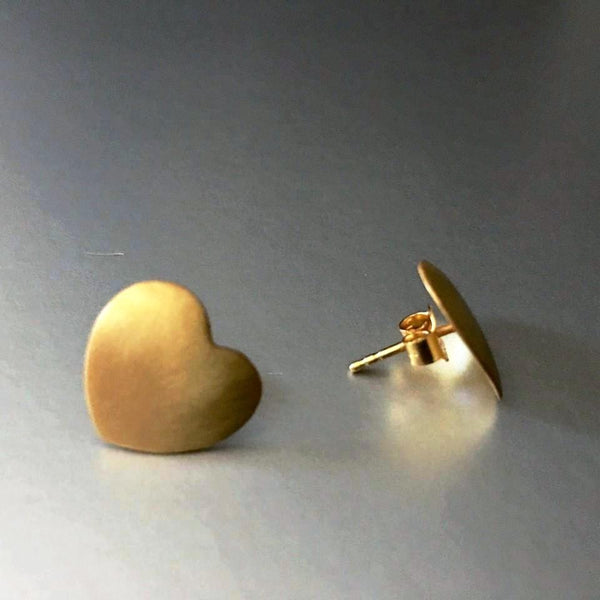 Heart-shaped, gold plated stud earrings with the most simplistic appeal are simply stunning. Love has no limits and these dainty studs have no limit either to match with any attire
