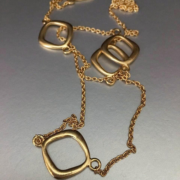 AA delicate, no weight, gold plated chain necklace (no clasp) that is versatile, trendy and comfortable (put it over your head) to enhance any attire in your wardrobe.