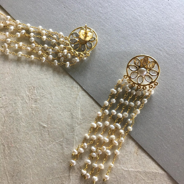 These impeccable gold plated earrings, Shiana, are lightweight and graciously embellished with 7 strings of cute little pearls. The dome holding the strings flaunts yellow topaz gemstone. Designed for pierced ears, wear it day or night, be it a formal or casual occasion, you can always pair these earrings with any outfit.