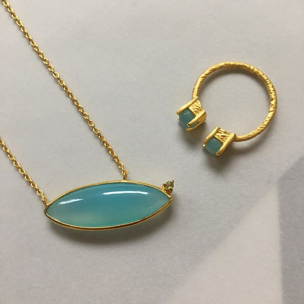 Bria Necklace With Blue Chalcedony