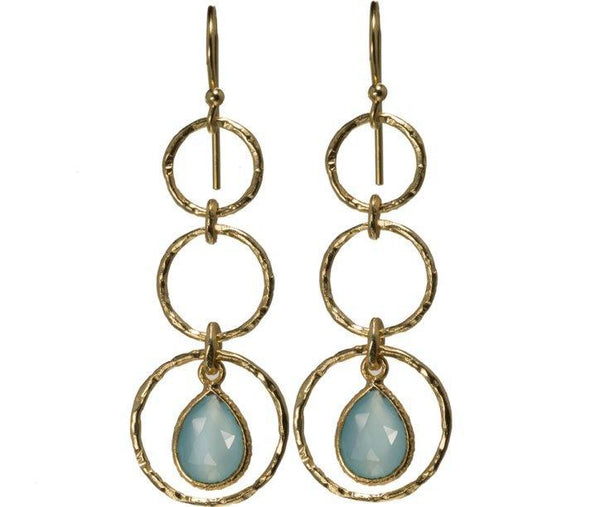 These dangling, dainty earrings with aqua chalcedony gemstone, flaunts elegance, style and a free-spirited experience.