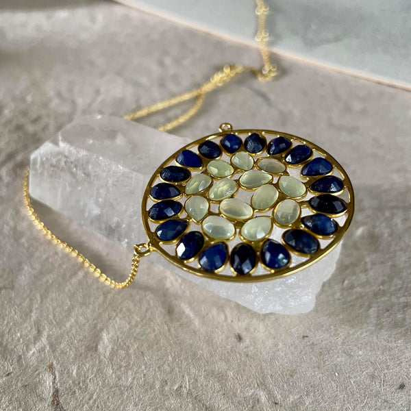 Lyanna Necklace With Blue Sapphire And Prehnite