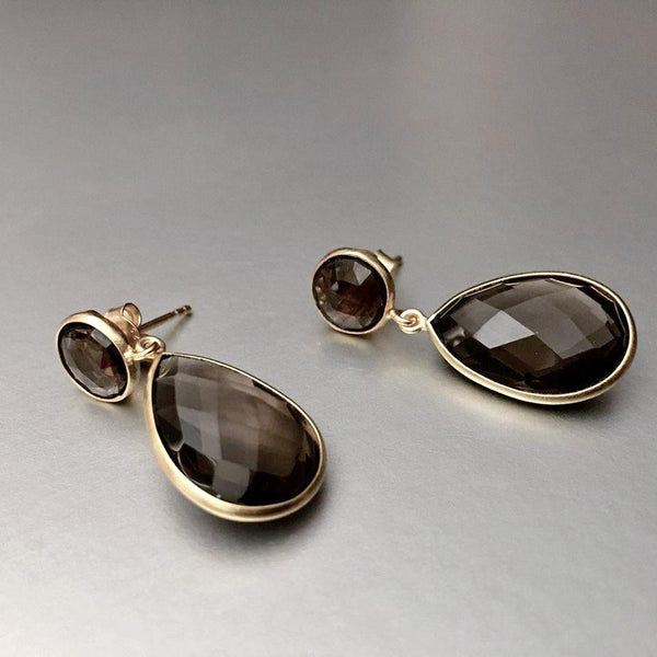 A stunning, sophisticated piece of fine earring with faceted smoky quartz, that is sure to be a show stopper.