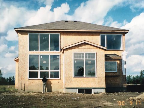 Back view of our house being built in 2000