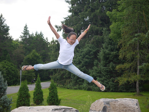 My daughter leaping for freedom