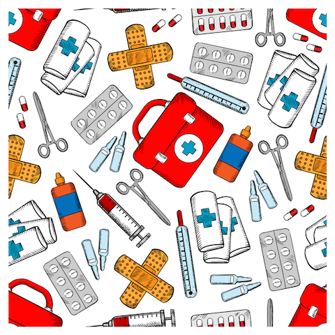 What To Do With Those Unused Medical Supplies? Medicines and Medical Supplies Pattern by sea martini on canva.com