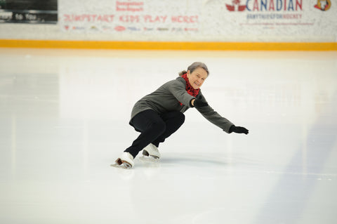 Lynne hydroblading on the ice, Photo by Anna Epp