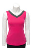 Fuchsia with charcoal trim sleeveless reversible top V neck in front
