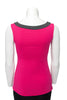 Fuchsia with charcoal trim sleeveless reversible top boat neck in back