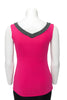 Fuchsia with charcoal trim sleeveless reversible top V neck in back