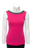 Fuchsia with charcoal trim sleeveless reversible top boat neck in front