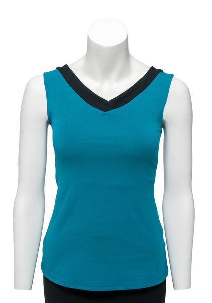 Teal with black trim sleeveless reversible top V neck in front