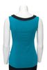 Teal with black trim sleeveless reversible top boat neck in back