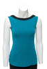 Teal with black trim sleeveless reversible top boat neck in front