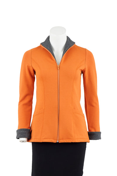 coKANna Claire Bamboo Fleece Two-Tone Jacket in Sienna with Charcoal, front view, zipper open