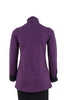 Claire Bamboo Fleece Two-Tone Jacket in Plum with Black, back view