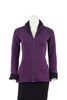 Claire Bamboo Fleece Two-Tone Jacket in Plum with Black, front view, zipper open
