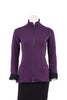Claire Bamboo Fleece Two-Tone Jacket in Plum with Black, front view, zipper up