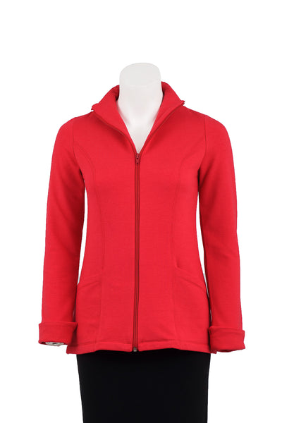 coKANna Claire fleece jacket in red front view zipper partially open
