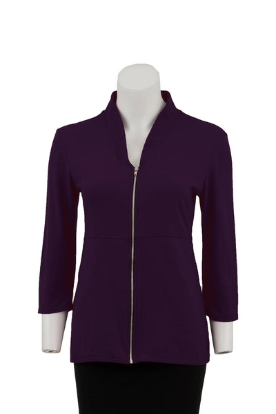 coKANna Maddison 3/4 sleeve top/jacket in plum front view