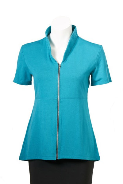 coKANna Maddison short sleeve top/jacket in teal front view