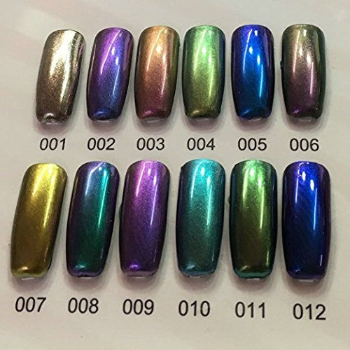 Nail Powder Mirror SELA BEAUTY 12 Colors Bottles Magic Chrome Effect Metallic Set Art Additive Pigment Sliver