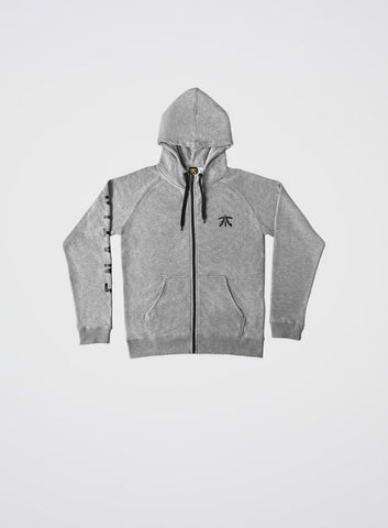 Fnatic Zipped Hoodie High Collar Melange Grey