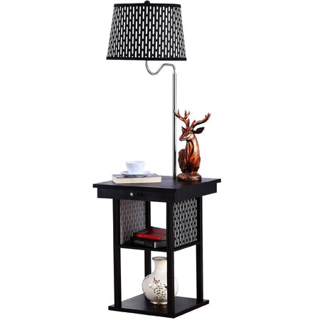 Madison LED Floor Lamp - Built-in Black Table - Outfitted with 2 USB Ports & US Standard Outlet for Electronics - includes Brightech's LightPro LED 9.5-Watt Bulb - Pattern Shade