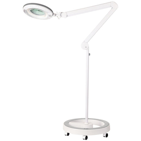 LightView Pro Dimmable LED Magnifier Floor Lamp with 6-Wheel Rolling Base - Built with Cool White / Warm White Color Temperature Adjusting LED's - SuperBright with 90 LED's