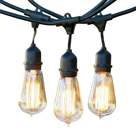 Ambience Pro Vintage Edition Outdoor Weatherproof Commercial Grade String Lights - Weather Tite Technology, Edison Bulbs Included, 48 Foot String, Black