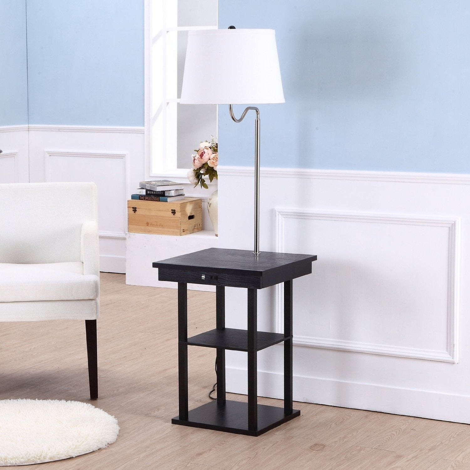 brightech store madison floor lamp with builtin twotier black table with open display space u2013 outfitted with 2 usb ports and us standard outlet for