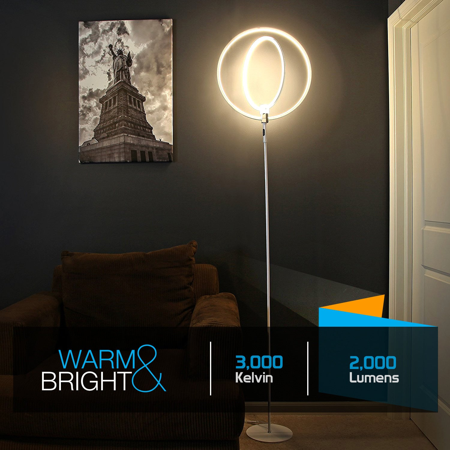 Brightech Store | Eclipse LED Floor Lamp – Rings of Light Bring ...