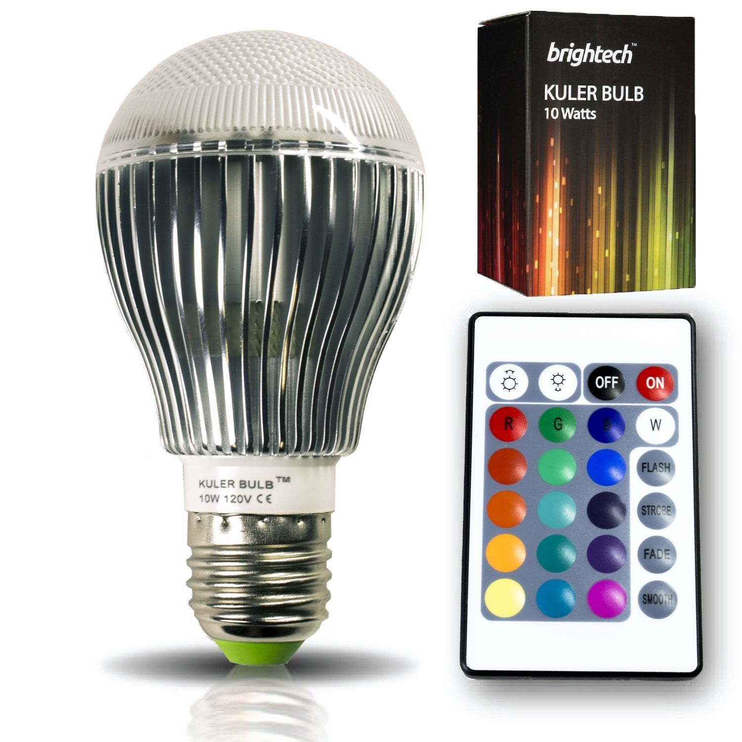 the original kuler bulb 10watt color changing led light bulb with remote control powered by 3 vibrant ledu0027s and 10 watts of power its the brightest
