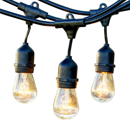 Ambience Pro Outdoor Weatherproof Commercial String Lights with Hanging Sockets - WeatherTite Technology, 11S14 Incadescent Bulbs Included, 48 Foot String - Black