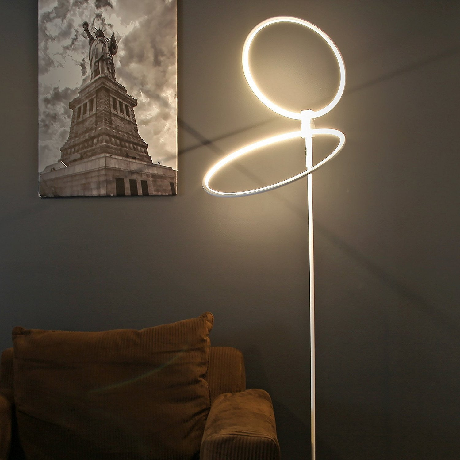 brightech store eclipse led floor lamp u2013 rings of light bring scifi ambiance to spaces u2013 28 watts u2013 dimmable bright light u2013 silver finish - Led Floor Lamp
