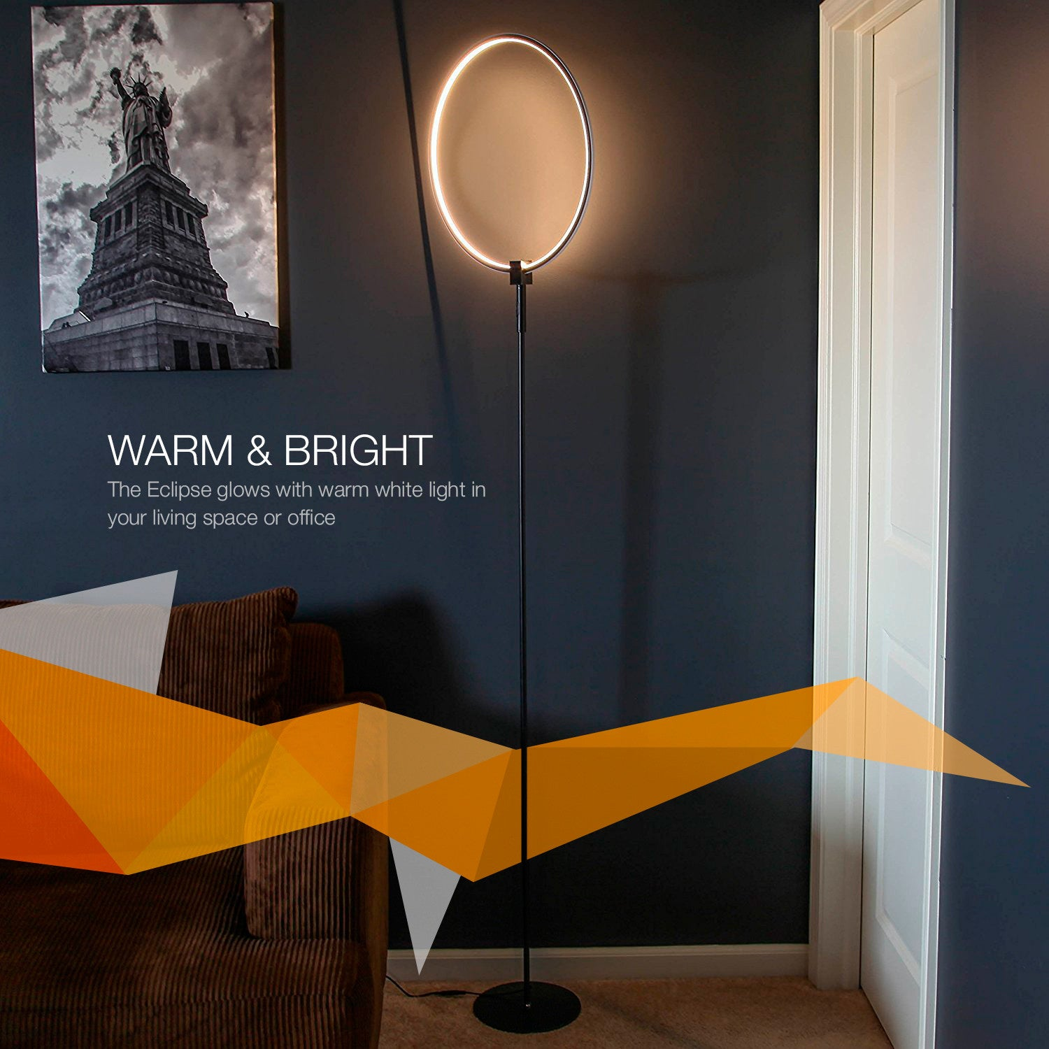 Brightech store eclipse led floor lamp single ring ring of brightech store eclipse led floor lamp single ring ring of light brings sci fi ambiance to contemporary spaces 15 watts dimmable bright light parisarafo Choice Image