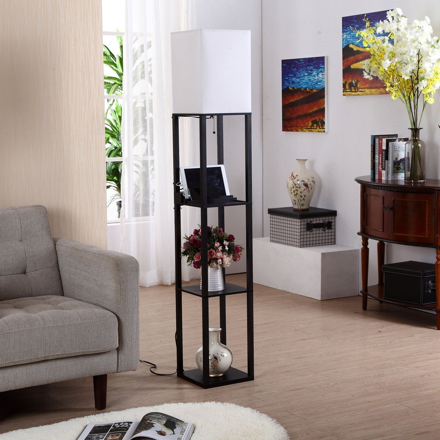 Brightech Store | Brightech U2013 Maxwell USB Shelf Floor Lamp U2013 Mood Lighting  For Your Living Room And Bedroom U2013 Shade Diffused Light Source In A Natural  Wood ...