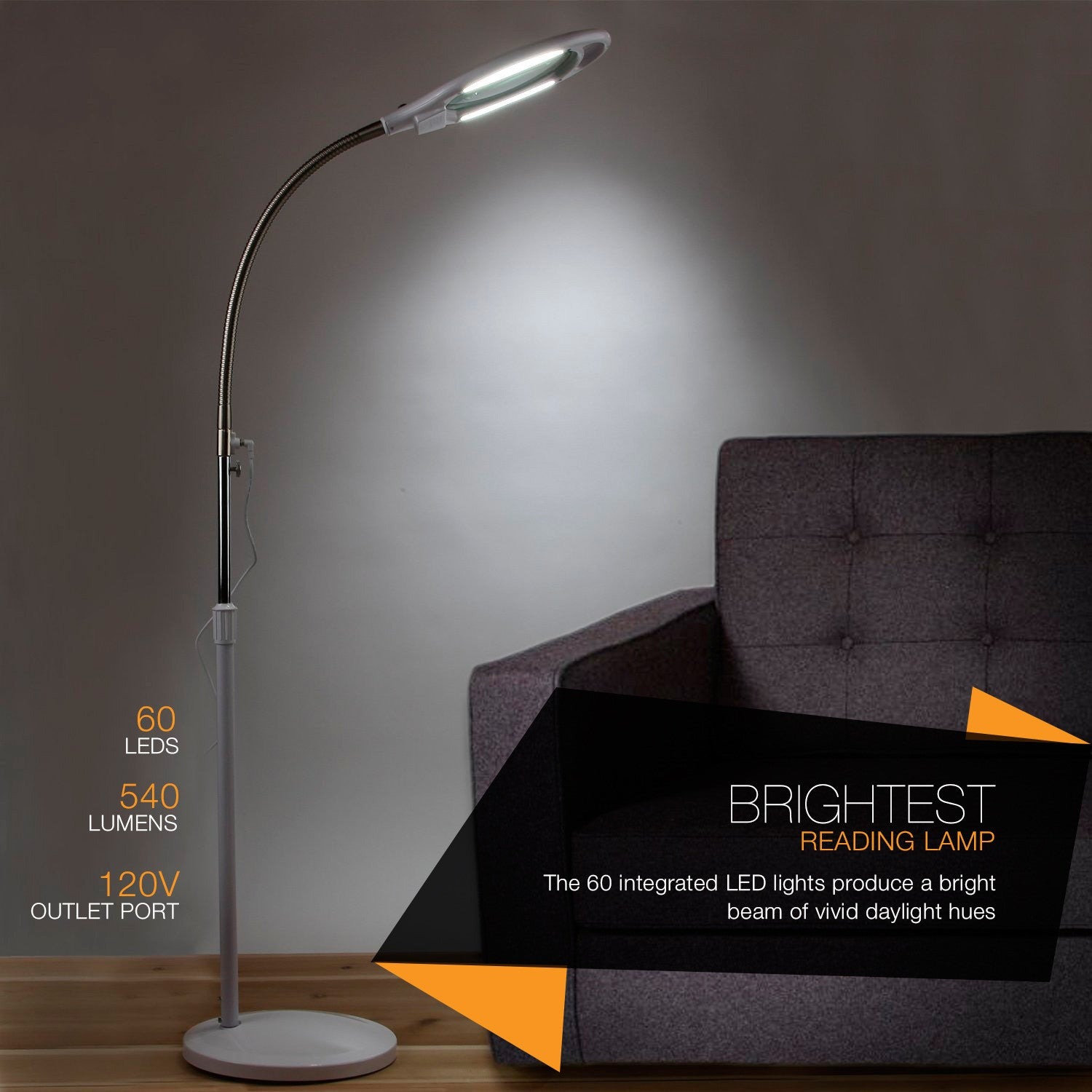 Brightech Store | LightView PRO SuperBright Magnifier Floor Lamp With 60  LEDu0027s U2013 Extra Large Lens U0026 Adjustable Height U2013 White