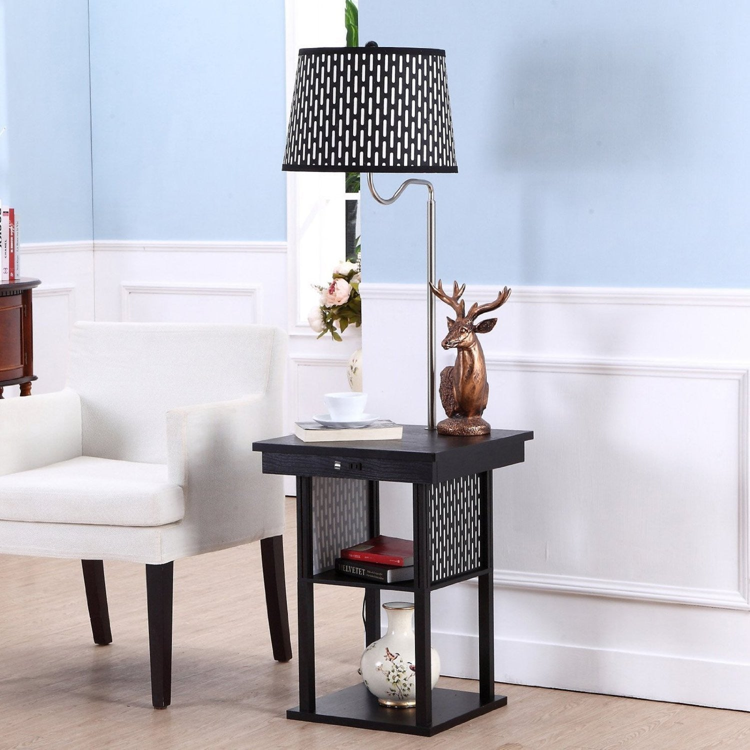 Brightech Store | Madison Floor Lamp With Built In Two Tier Black Table  With Open Display Space U2013 Outfitted With 2 USB Ports And US Standard Outlet  For ...