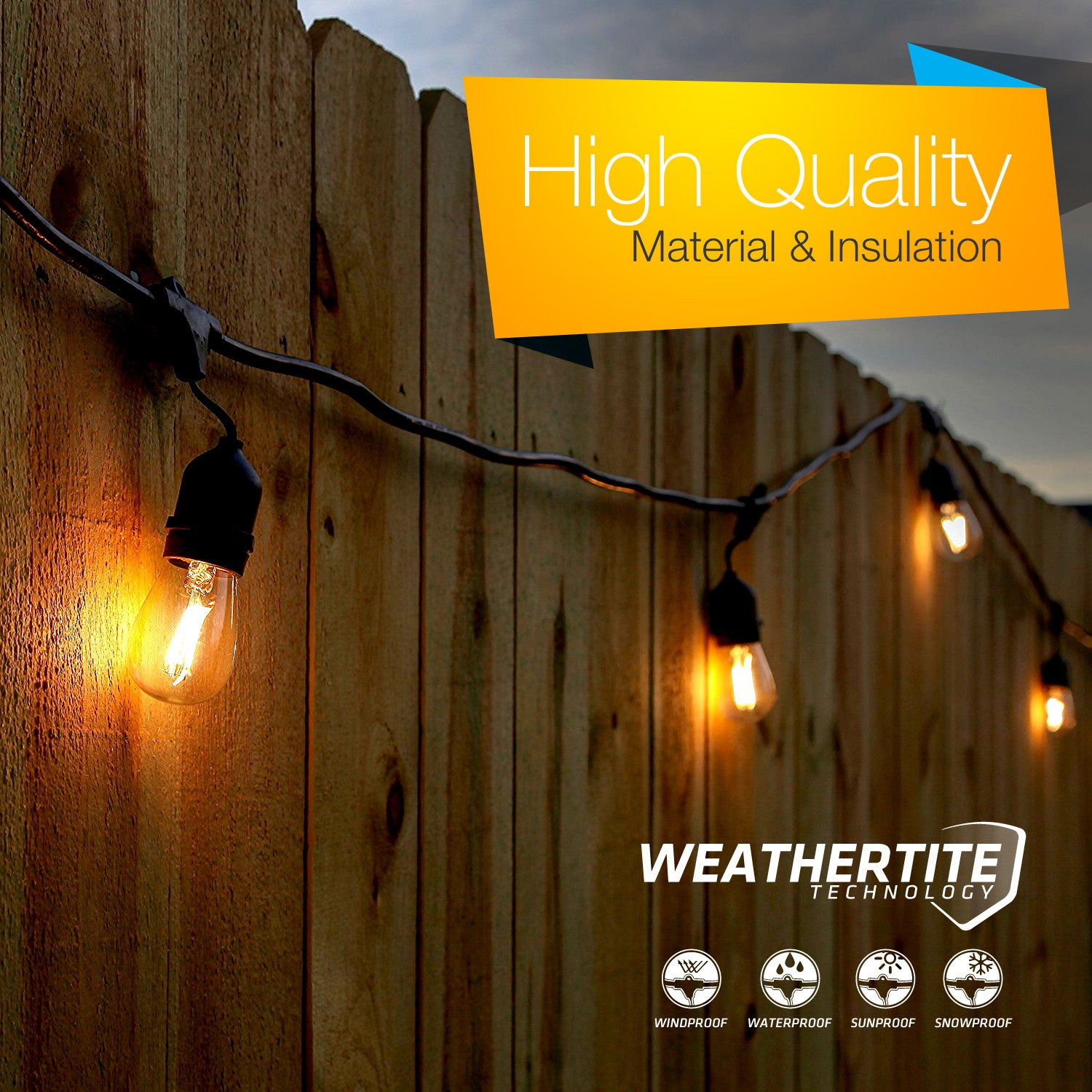Led patio string lights - Brightech Store Brightech Ambience Pro Led Outdoor Weatherproof Commercial Grade String Lights Weathertite Technology Soothing 1 Watt Led Bulbs