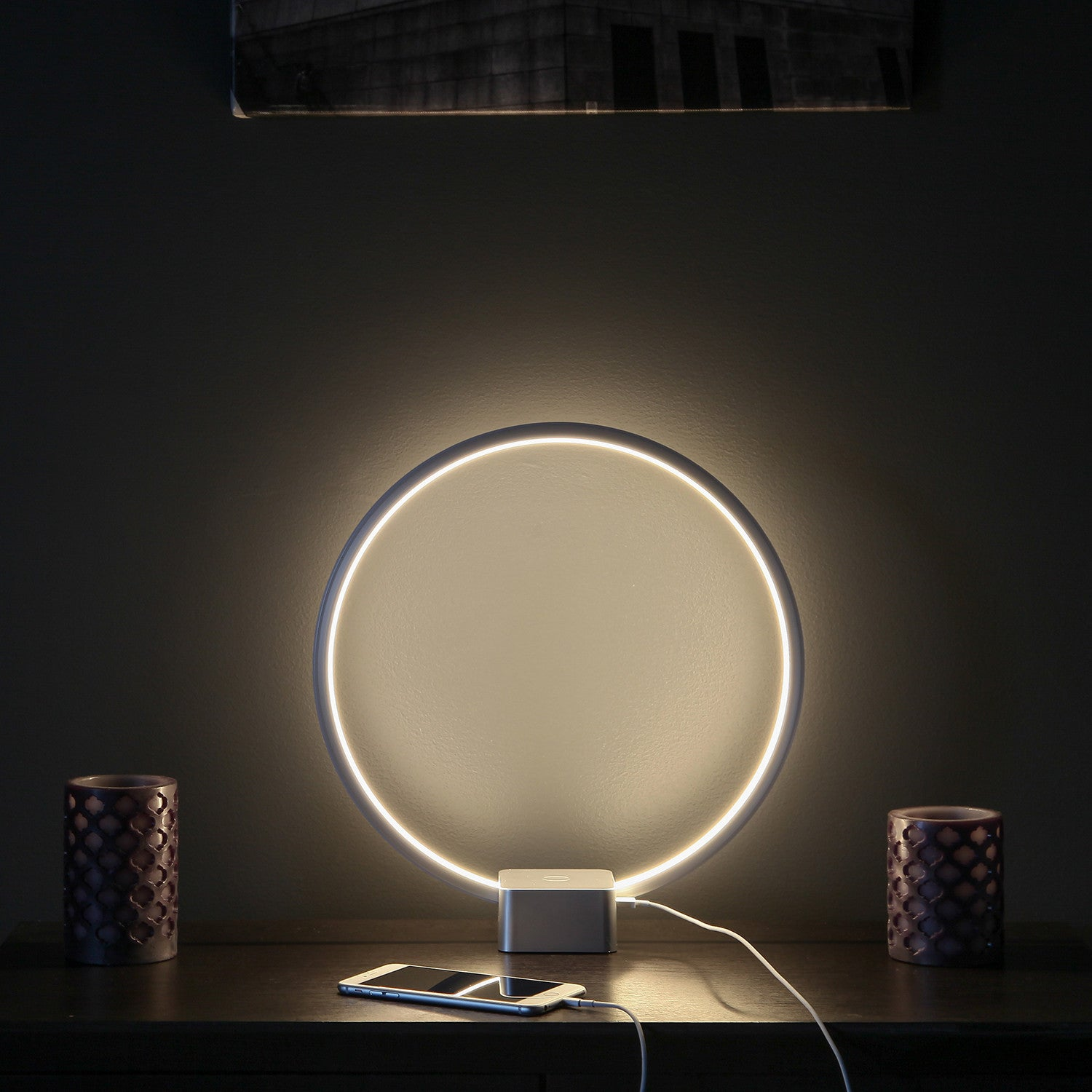 brightech store circle led usb table u0026 desk lamp u2013 bright orb of light with builtin dimmer brings scifi ambiance to spaces u2013 usb port for