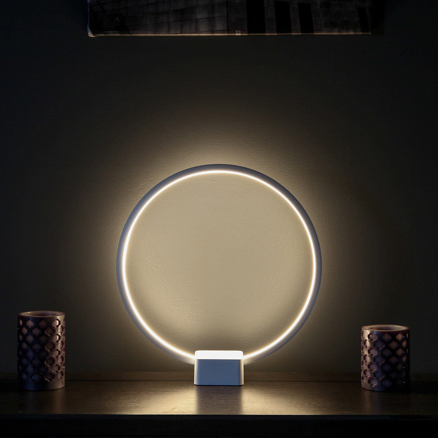 brightech store circle led table lamp u2013 bright orb of light with builtin dimmer brings scifi ambiance to spaces u2013 12 watts u2013 white color