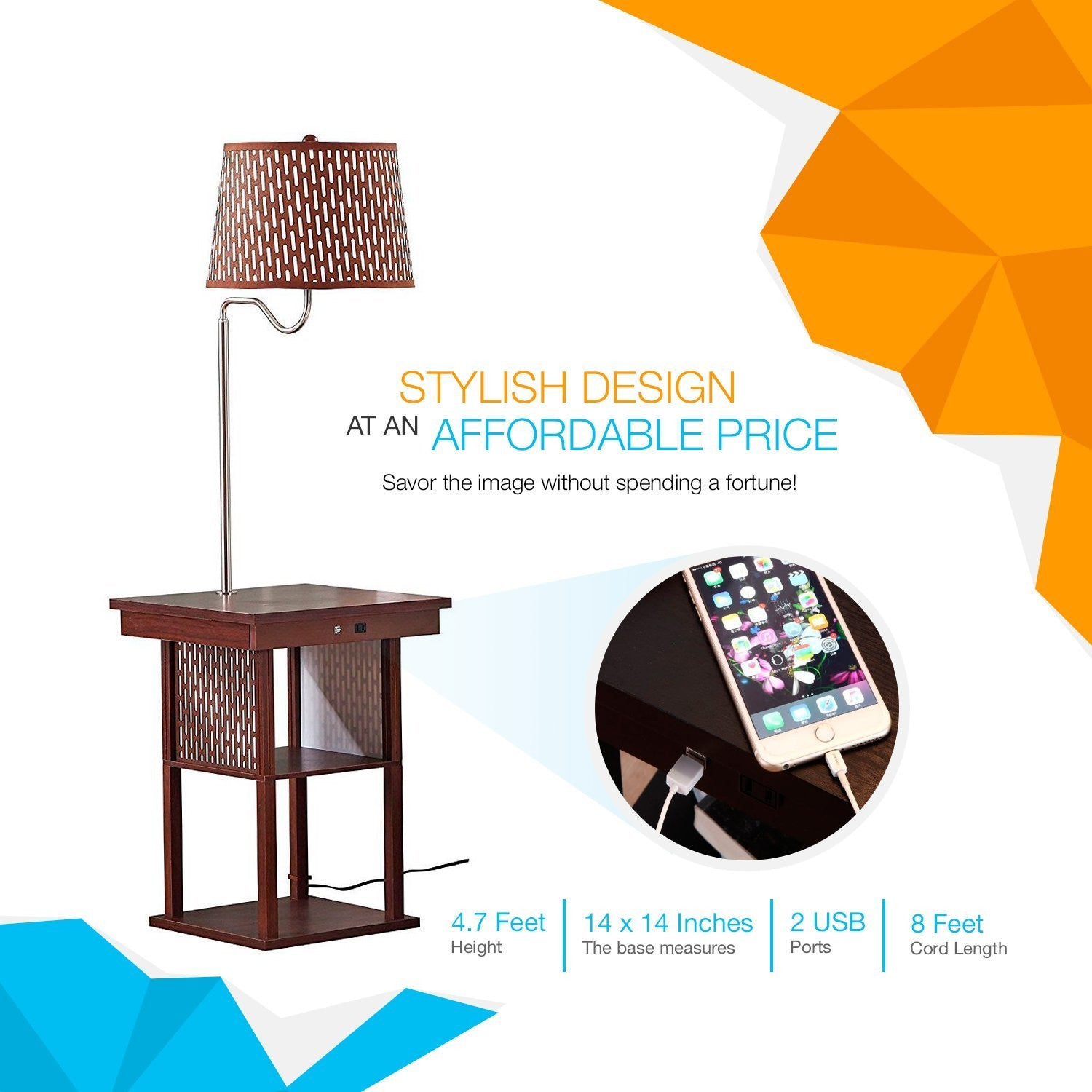 Brightech Store | Madison LED Floor Lamp U2013 Built In Black Table U2013 Outfitted  With 2 USB Ports U0026 US Standard Outlet For Electronics U2013 Includes  Brightechu0027s ...
