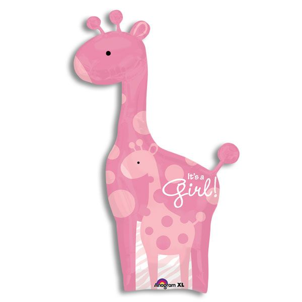 PINK GIRAFFE IT'S A GIRL JUMBO BALLOON