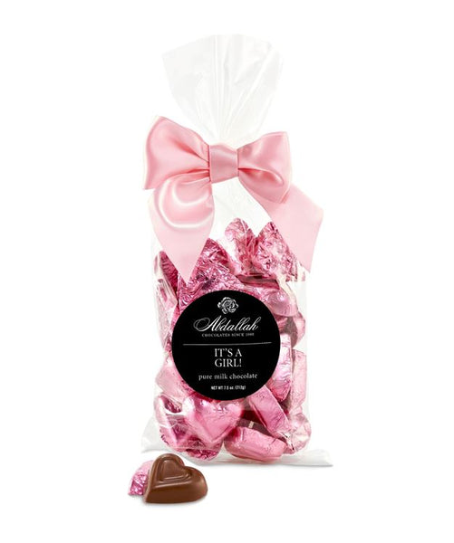It's a Girl Foil Wrapped Milk Hearts Bag 7.5oz Abdallah Candies