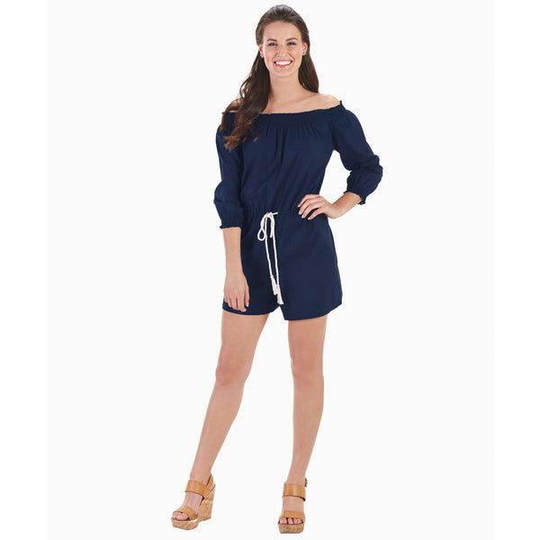 Off-The Shoulder Romper in Navy