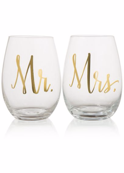 Mr. & Mrs. Stemless Wine Glasses